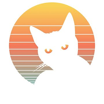 Cat Sunset Vintage Retro Summer Vibes by ZippyThread