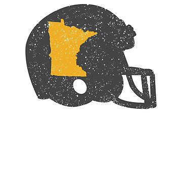 State Shape of Minnesota on Vintage Football Helmet by ZippyThread