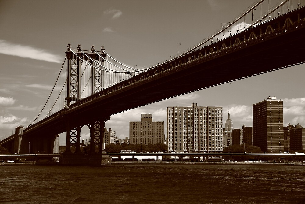 Manhattan Bridge - New York City by Frank Romeo