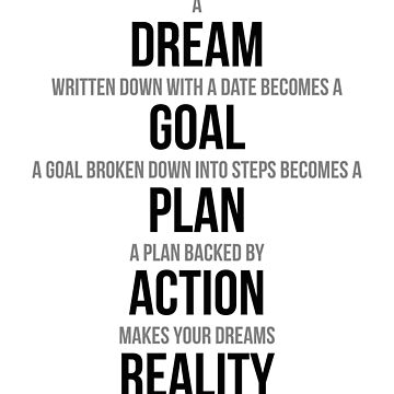 A Dream Written Down With A Date Becomes A Goal, Wall Art, Room Decor Ideas, Poster, Motivational Quotes, Inspirational Quotes by motiposter