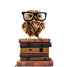 Adorable Nerdy Owl with Glasses on Books by SirLeeTees