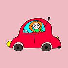 Girl Driving A Red Car by montridesign