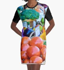 Autumn Harvest at the Farmers Market Graphic T-Shirt Dress