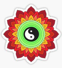 Yin Yang Symbol Flower Mandala on Lime Green and Red Sticker