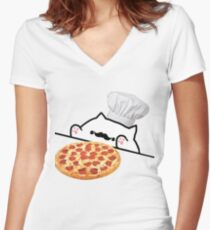 Bongo Cat Pizza Chef Women's Fitted V-Neck T-Shirt
