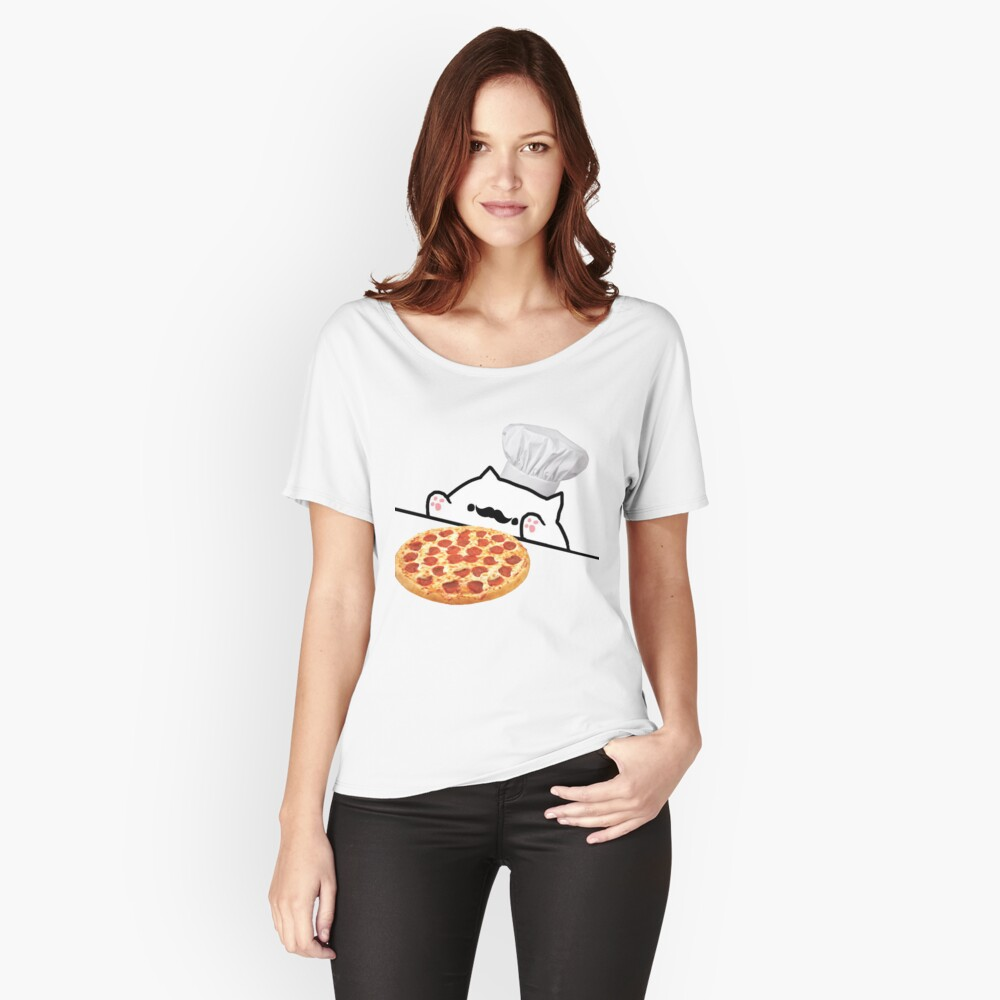 Bongo Cat Pizza Chef Women's Relaxed Fit T-Shirt Front