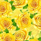 Yellow watercolor roses pattern by Katerina Kirilova