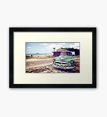 Cuban classic car by the beach Framed Print