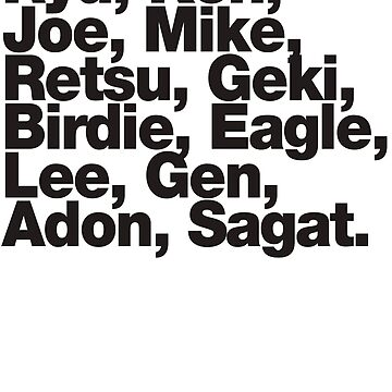 Street Fighter 1987 Names by tomastich85