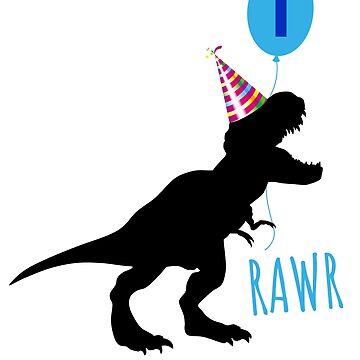 Birthday dinosaur shirt 1 year old by playloud