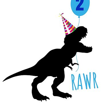 Birthday dinosaur 2 years old shirt by playloud