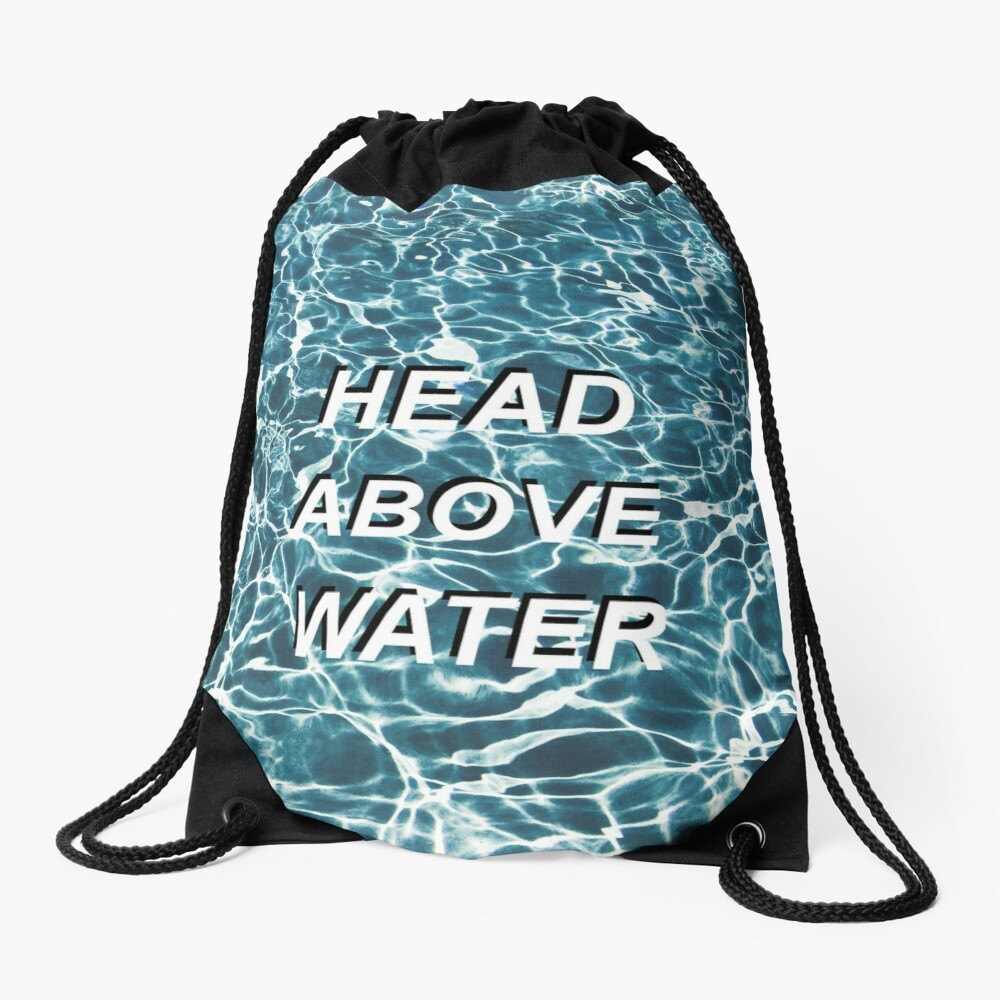 Head Above Water Drawstring Bag