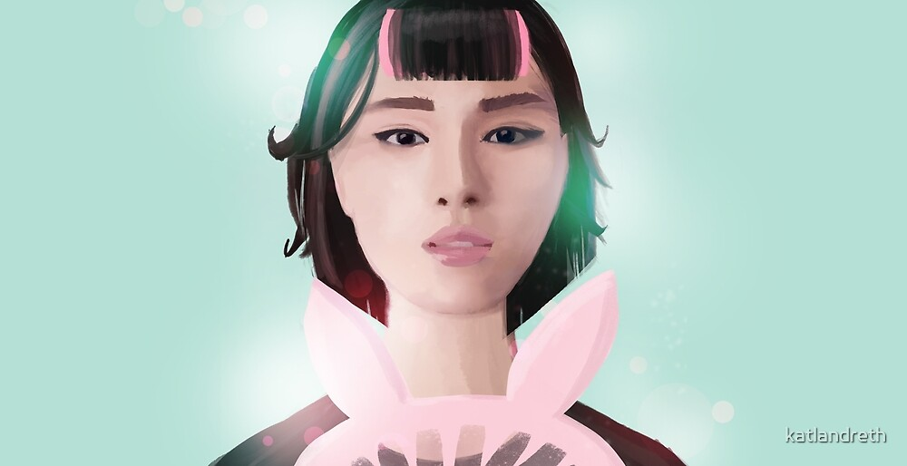 South Korean Girl With Bunny Ear Fan and Hair Roller for K-Pop and Asian Pop Culture Lovers  by katlandreth