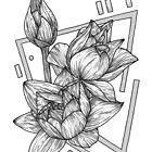 Grey Geometric Lotus Flower Illustration by bblane