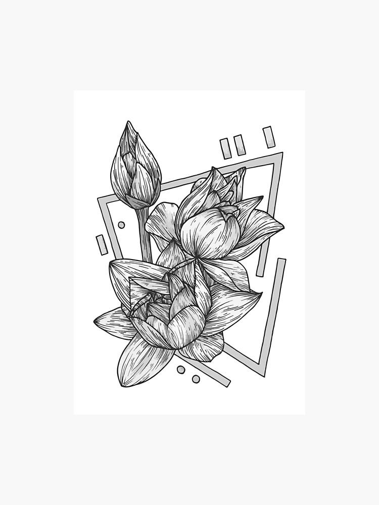 Grey Geometric Lotus Flower Illustration Photographic Print By