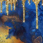 Gold Glitter Rain on Indigo Ink Marble by MysticMarble