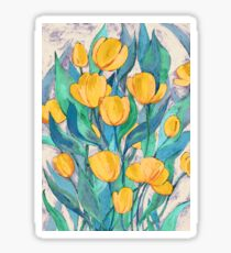 Blooming Golden Tulips in Gouache  Sticker