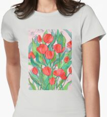 Blooming Red Tulips in Gouache  Women's Fitted T-Shirt