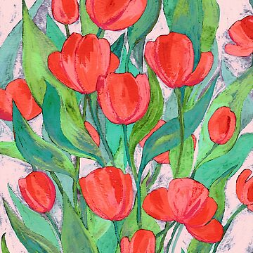 Blooming Red Tulips in Gouache  by micklyn
