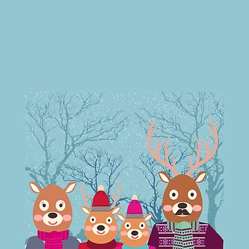 Cute Deer Family in Winter Merry Christmas by overstyle