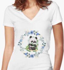 Cute Panda Women's Fitted V-Neck T-Shirt