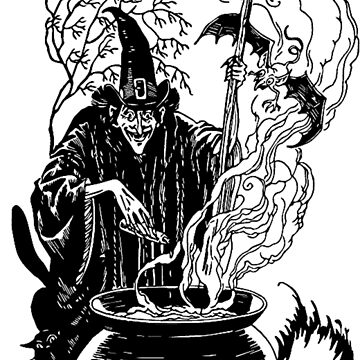 Vintage Witch Brewing A Spell by BlackStarGirl