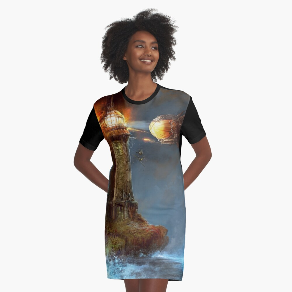 Steampunk Tower Attack! Graphic T-Shirt Dress