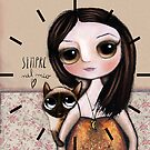 Siamese cat and the child with big eyes, by Margherita Arrighi by margherita arrighi