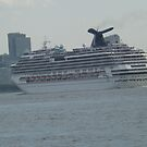 The Carnival Splendor Leaves New York Harbor, Hudson River, New York City by lenspiro