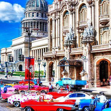 Havana National Theater & Capitol, Cuba, Havana, Cuba, Cars by tommysphotos