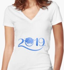 Year of The Pig 2019 Women's Fitted V-Neck T-Shirt