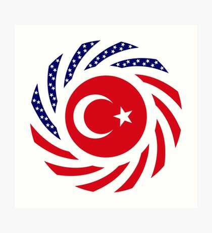 Turkish American Multinational Patriot Flag Series Art Print