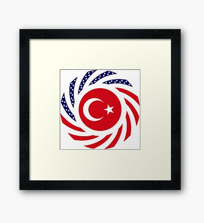 Turkish American Multinational Patriot Flag Series Framed Print
