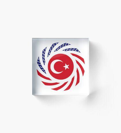 Turkish American Multinational Patriot Flag Series Acrylic Block