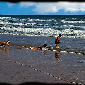 Montanita Kids, Puppy, and Ocean by alabca