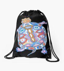 Sea Turtle - Folk Blue & Black Palette  Drawstring Bag