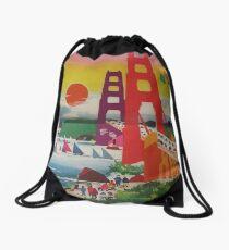 San Francisco Golden Gate Bridge Retro Vintage Travel Poster Drawstring Bag