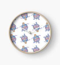 Sea Turtles | Folk Blue Palette  Clock