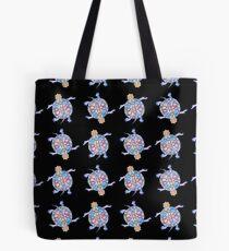 Sea Turtle - Black & Blue Folk pattern Tote Bag