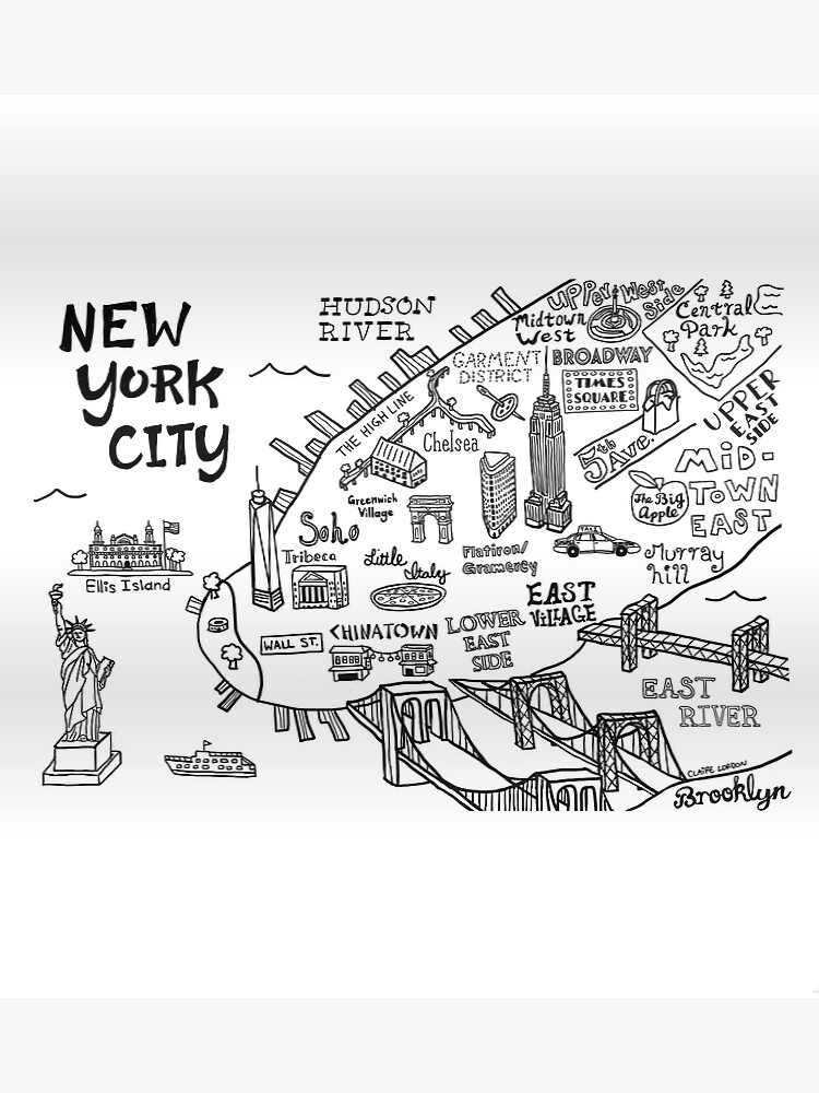 Map Of New York Poster.New York City Illustrated Map Poster