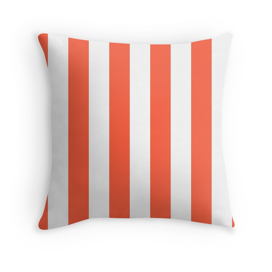 Living Coral and White Wide Vertical Cabana Tent Stripe