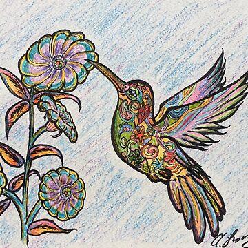 Rainbow Paisley Hummingbird by Creatividad