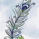 Watercolor Peacock Feather by GrimalkinStudio