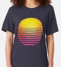 1980s Retro Symbol Outrun Synthwave Sun Sunset Slim Fit T-Shirt