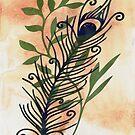 Watercolor Feather and Flora by GrimalkinStudio