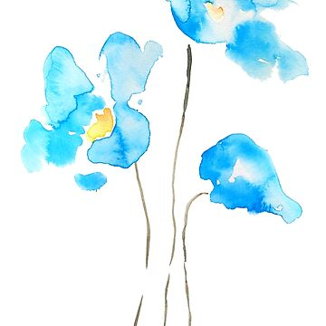 abstract blue Himalayan poppies flower watercolor  by ColorandColor
