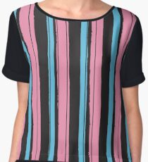 Fashion Super-cool Stylized Stripes Chiffon Top