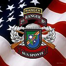 2nd Ranger Battalion - Army Rangers Special Edition over American Flag by Serge Averbukh