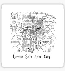 Greater Salt Lake City Valley Illustrated Map Sticker