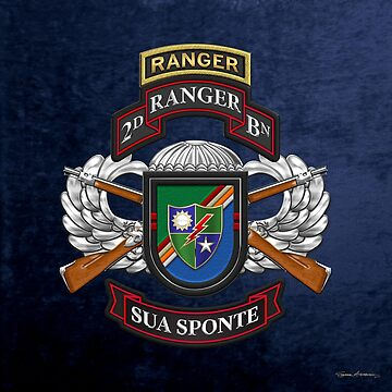 2nd Ranger Battalion - Army Rangers Special Edition over Blue Velvet by Captain7